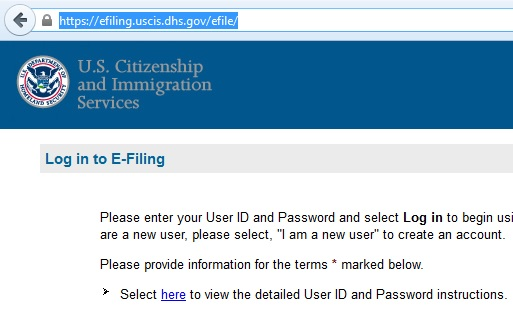 The only legitimate web address to e-file your immigration petition (highlighted in blue)
